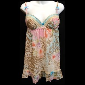 In Bloom Floral Animal Print Lace Babydoll LARGE